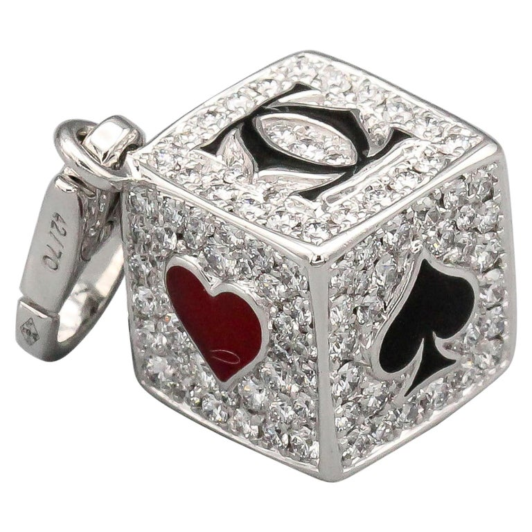 Cartier Limited Edition Diamond and Enamel Playing Card Suite Charm