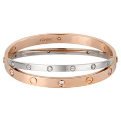 Cartier Limited Edition White and Rose Gold Diamond Love Bracelet
