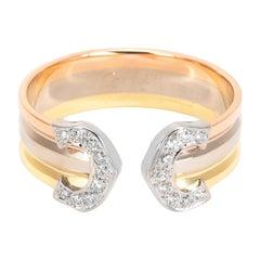Cartier Logo Diamond Ring in 18 Karat 3-Tone Gold 0.1 Carat
