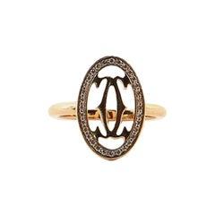 Cartier Logo Double C Ring 18 Karat Rose Gold with Diamonds 3.75 - 46