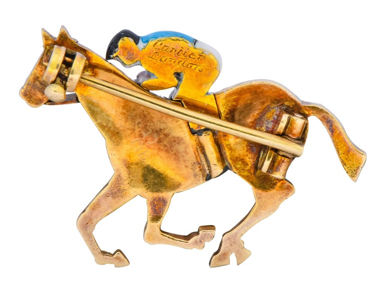 Cartier London 18 Karat Yellow Gold Enamel Horse With Jockey Pin, circa 1900 In Excellent Condition For Sale In Philadelphia, PA