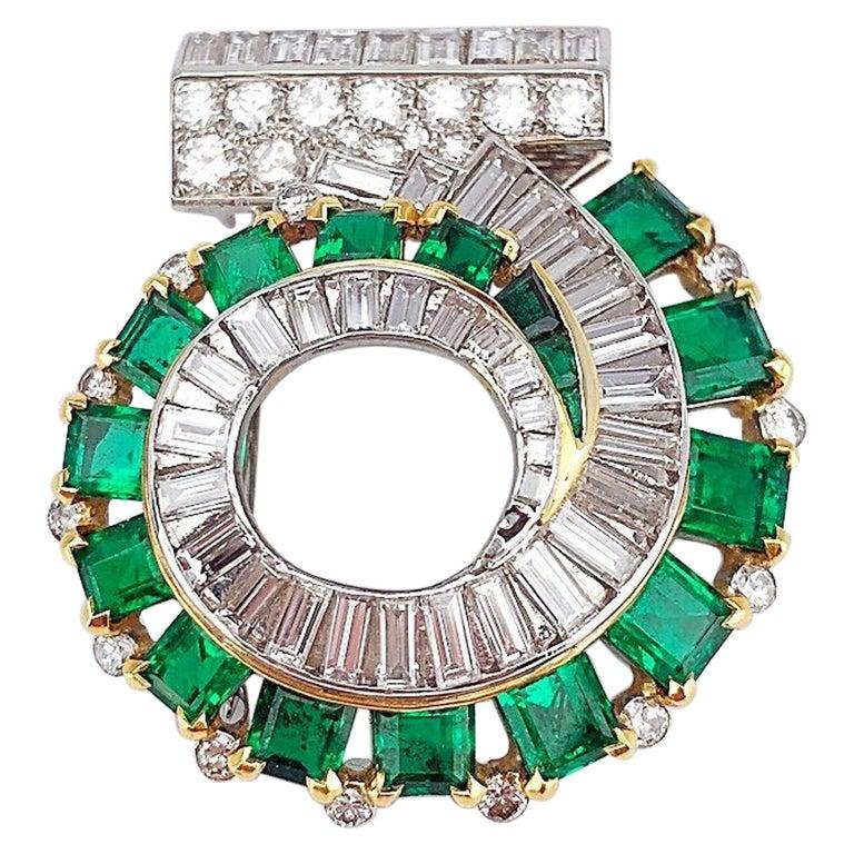 Cartier London 1930s Diamond Emerald Clip For Sale