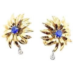 Cartier London 1940's Unheated 2.10 CTW Burma Sapphire Diamond 18K Gold Earrings