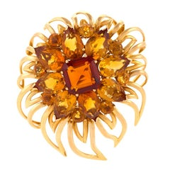 Cartier London 1950s Citrine Gold Flower Brooch