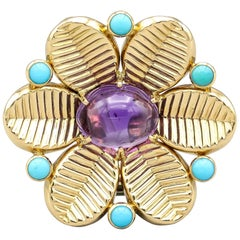 Cartier London Amethyst Turquoise 18 Karat Gold Coffee Bean Brooch Clip