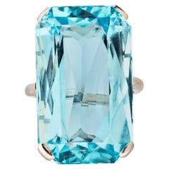 Cartier London Art Deco Aquamarine Ring, Circa 1930s