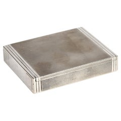 Cartier London Art Deco Silver Cigarette or Card Case with Machined Patterning