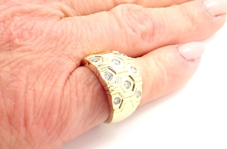 Cartier London Diamond Beehive Yellow Gold Wide Band Ring For Sale 5