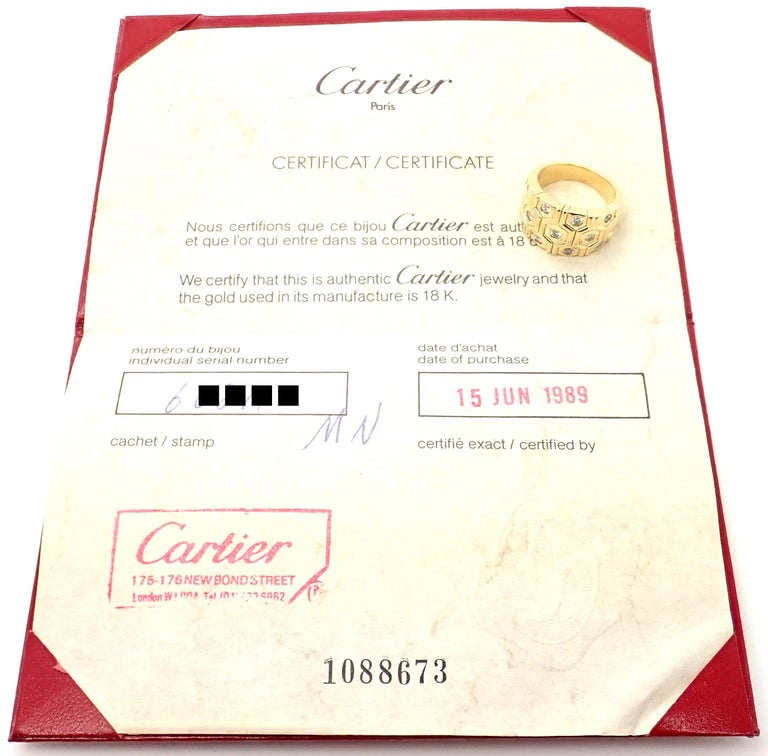 Brilliant Cut Cartier London Diamond Beehive Yellow Gold Wide Band Ring For Sale