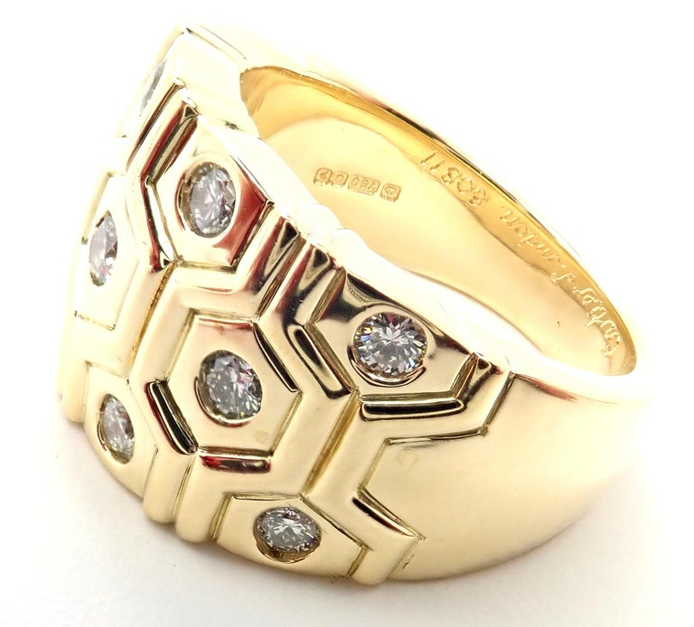 Cartier London Diamond Beehive Yellow Gold Wide Band Ring For Sale 1