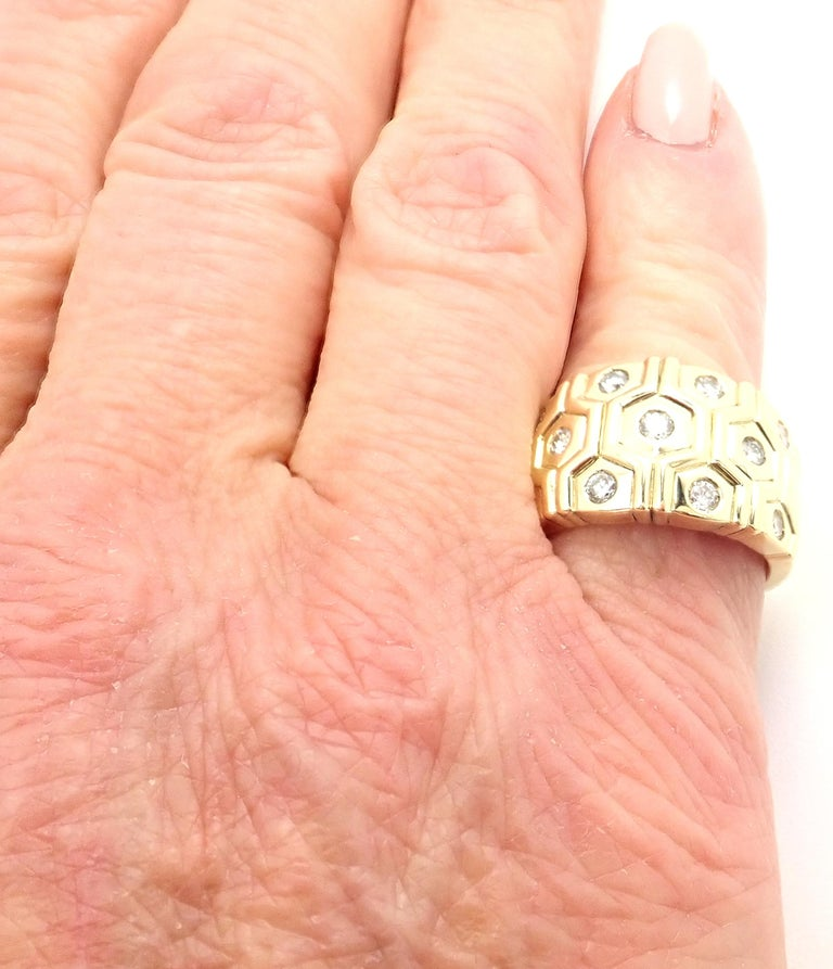 Cartier London Diamond Beehive Yellow Gold Wide Band Ring For Sale 4