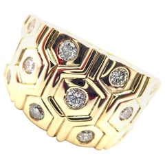 Cartier London Diamond Beehive Yellow Gold Wide Band Ring