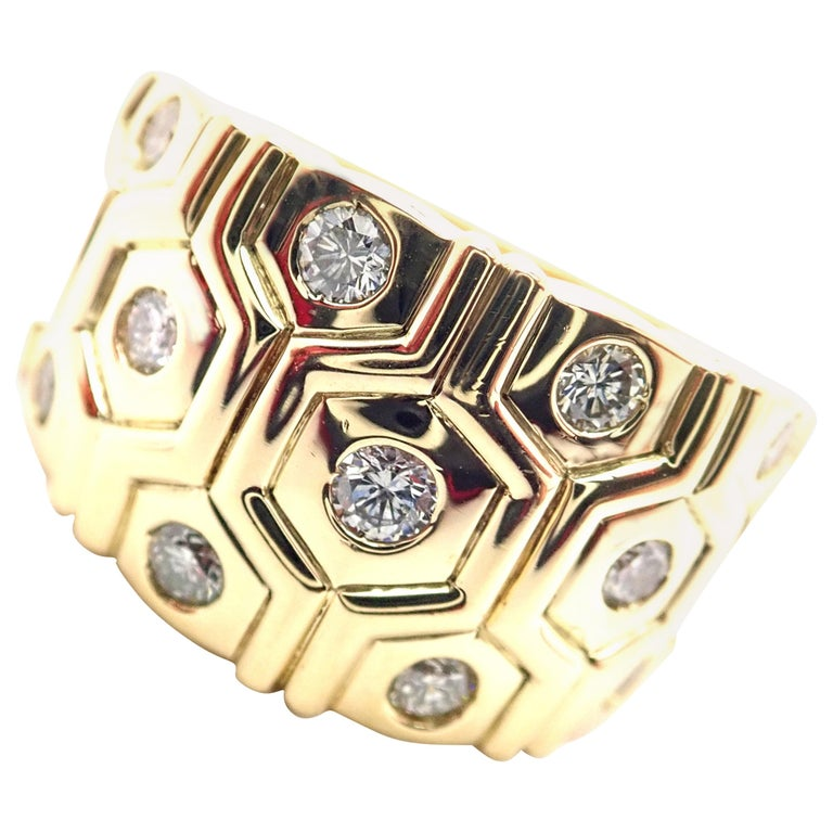 Cartier London Diamond Beehive Yellow Gold Wide Band Ring For Sale