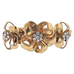 Cartier London Mid Century Diamond Gold Bracelet Clip Set
