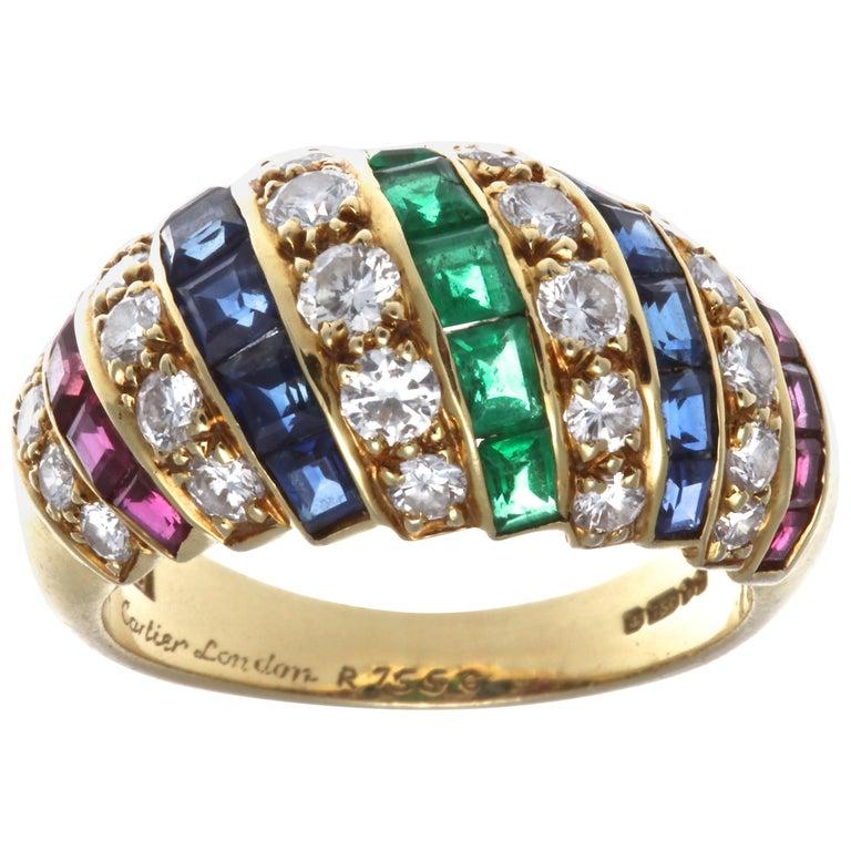 Cartier London Ruby Sapphire Diamond 18 Karat Ring For Sale