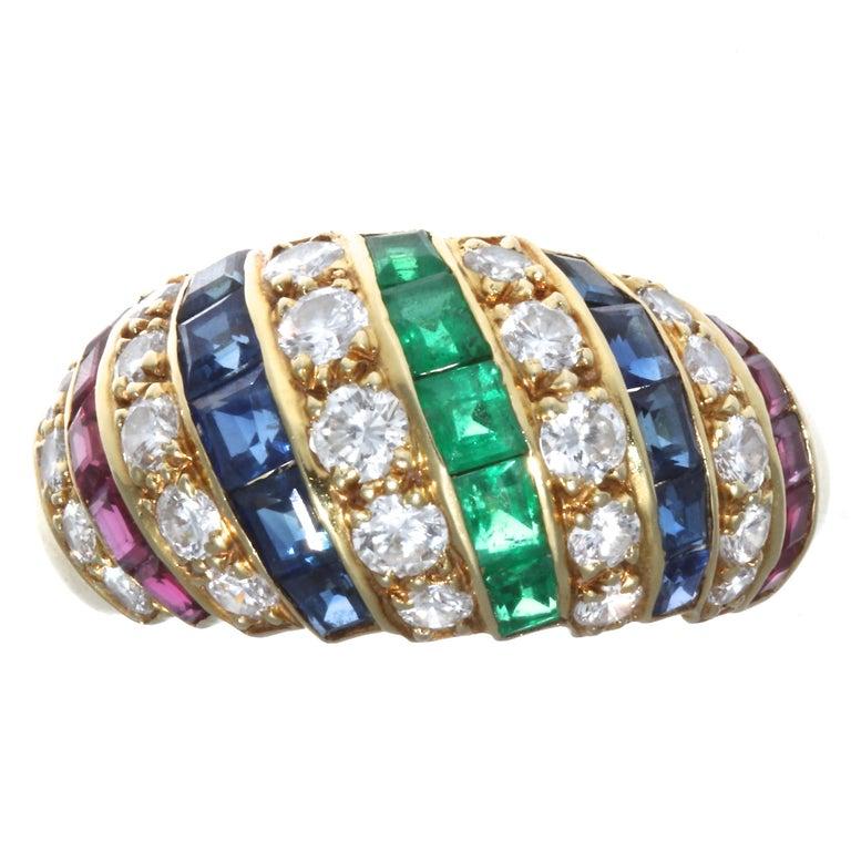 Round Cut Cartier London Ruby Sapphire Diamond 18 Karat Ring For Sale