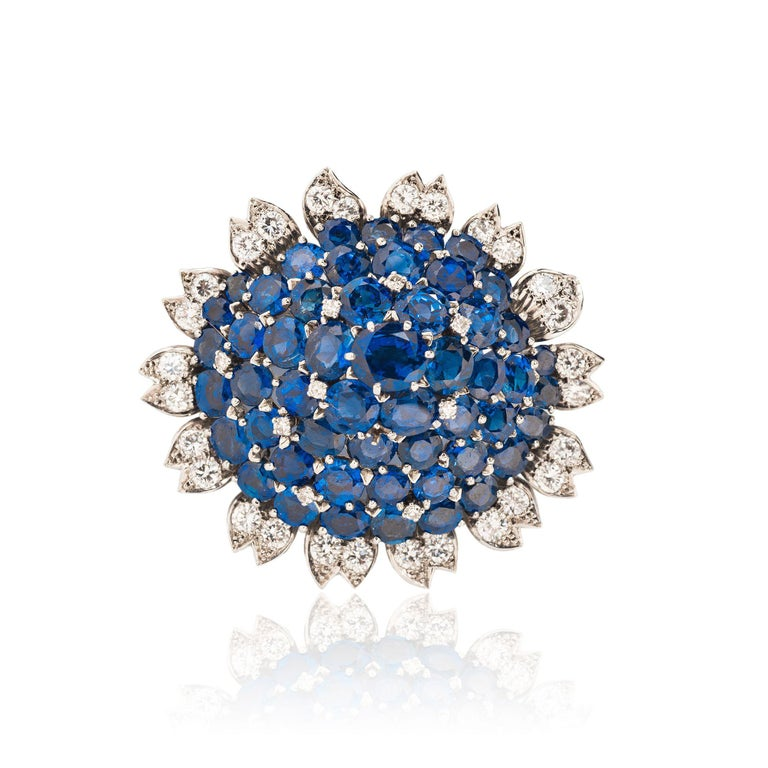 Mixed Cut Cartier London Sapphire and Diamond Suite For Sale