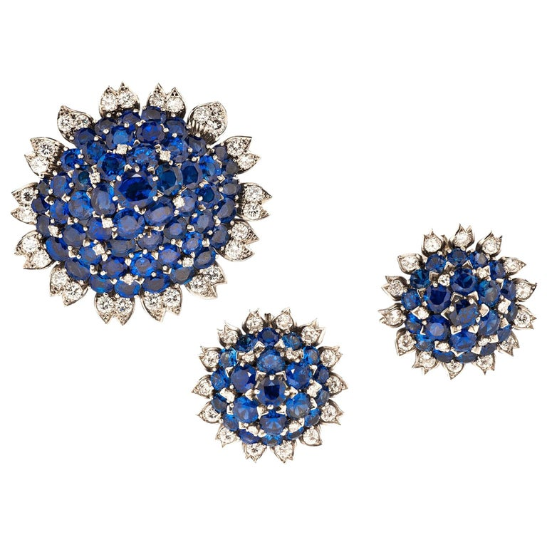 Cartier London Sapphire and Diamond Suite For Sale