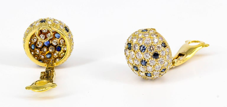 Contemporary Cartier London Sapphire Diamond Gold Dome Earrings For Sale