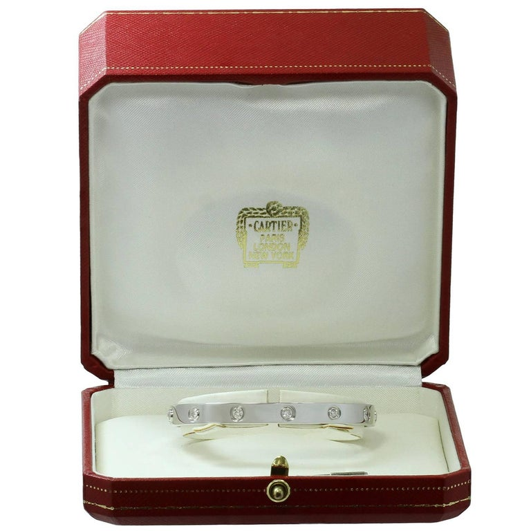 Cartier Love Ten Diamond White Gold Bracelet Box Papers In Excellent Condition For Sale In New York, NY