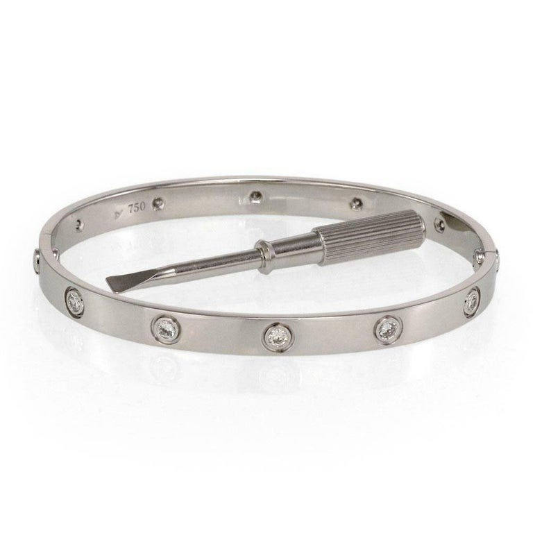 Cartier Love 10 Diamonds 18 Kt White Gold Bracelet Estate Evaluation by Cartier For Sale 1