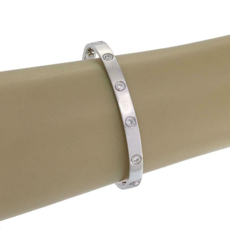 Cartier Love 10 Diamonds 18 Kt White Gold Bracelet Estate Evaluation by Cartier For Sale 2