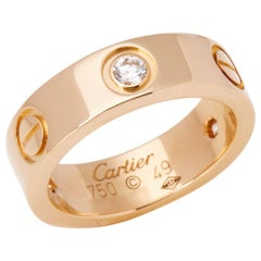 Cartier Love 18 Carat Yellow Gold 3 Diamond Ring