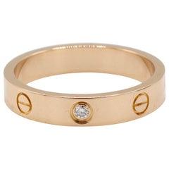 Cartier Love 18 Karat Rose Gold 1 Diamond Wedding Band Ring