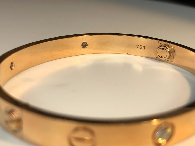 Round Cut Cartier Love 18 Karat Rose Gold 4 Diamond Bracelet For Sale