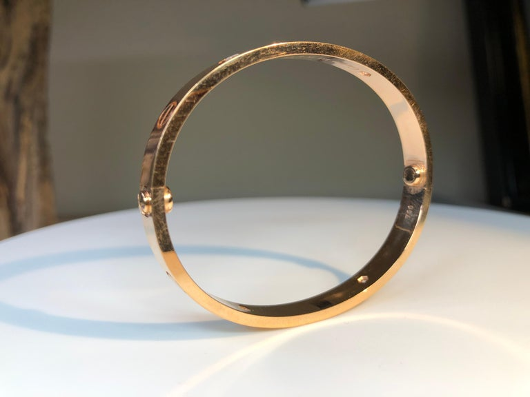 Cartier Love 18 Karat Rose Gold 4 Diamond Bracelet In Excellent Condition For Sale In Banbury, GB