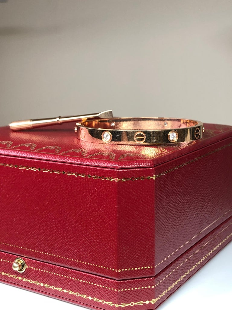 Women's or Men's Cartier Love 18 Karat Rose Gold 4 Diamond Bracelet For Sale