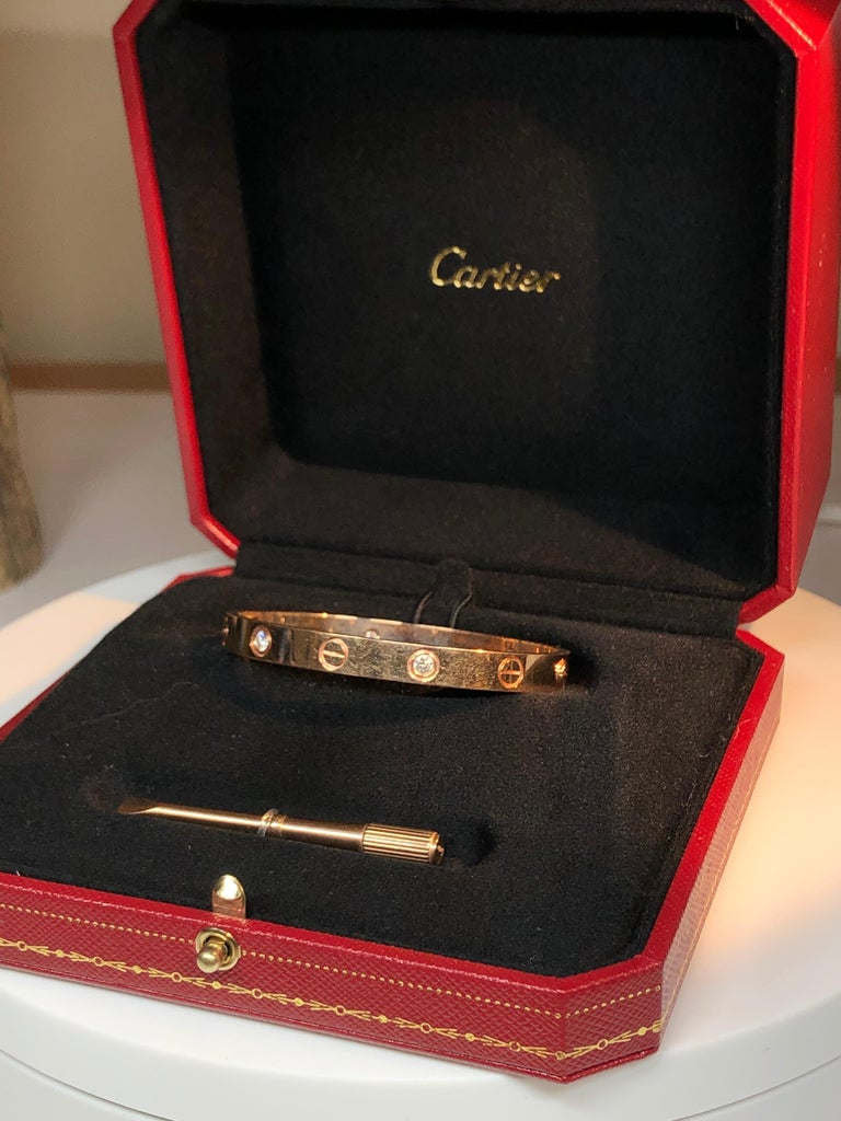 Cartier Love 18 Karat Rose Gold 4 Diamond Bracelet For Sale 3