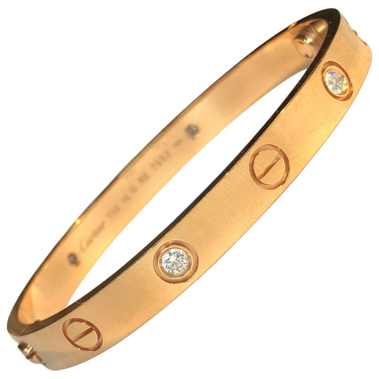 Cartier Love 18 Karat Rose Gold 4 Diamond Bracelet For Sale