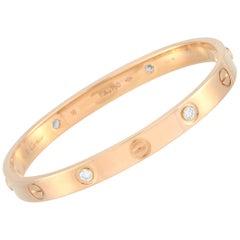 Cartier LOVE 18 Karat Rose Gold 4 Diamond Bracelet with Screwdriver