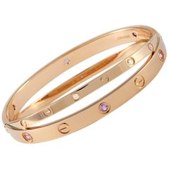 Cartier Love 18 Karat Rose Gold Diamond and Sapphire Bracelet with Screwdriver
