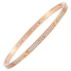 Cartier LOVE 18 Karat Rose Gold Diamond Bracelet