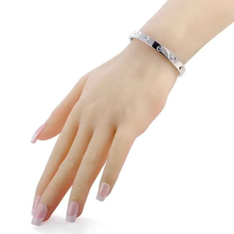 Round Cut Cartier LOVE 18 Karat White Gold 6 Diamond Bracelet For Sale