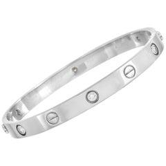Cartier LOVE 18 Karat White Gold 6 Diamond Bracelet with Screwdriver
