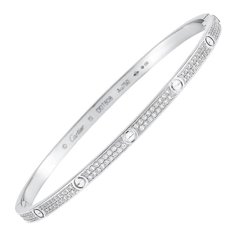 Cartier LOVE 18 Karat White Gold Diamond Bracelet For Sale