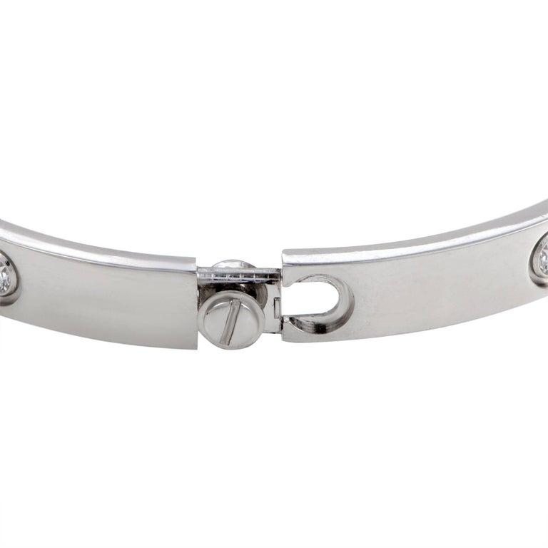 Cartier Love 18 Karat White Gold Ten-Diamond Bangle Bracelet In Excellent Condition For Sale In Southampton, PA