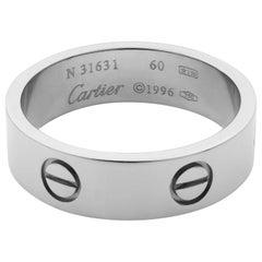 Cartier Love 18 Karat White Gold Unisex Band Ring