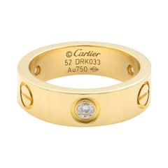 Cartier Love 18 Karat Yellow Gold 3 Diamond Ring