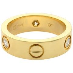 Cartier Love 18 Karat Yellow Gold 3 Diamond Wedding Band Ring