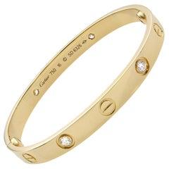 Cartier Love 18 Karat Yellow Gold 4 Diamond Bracelet
