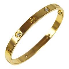 Cartier Love 18 Karat Yellow Gold 4 Diamond Bracelet with Screwdriver