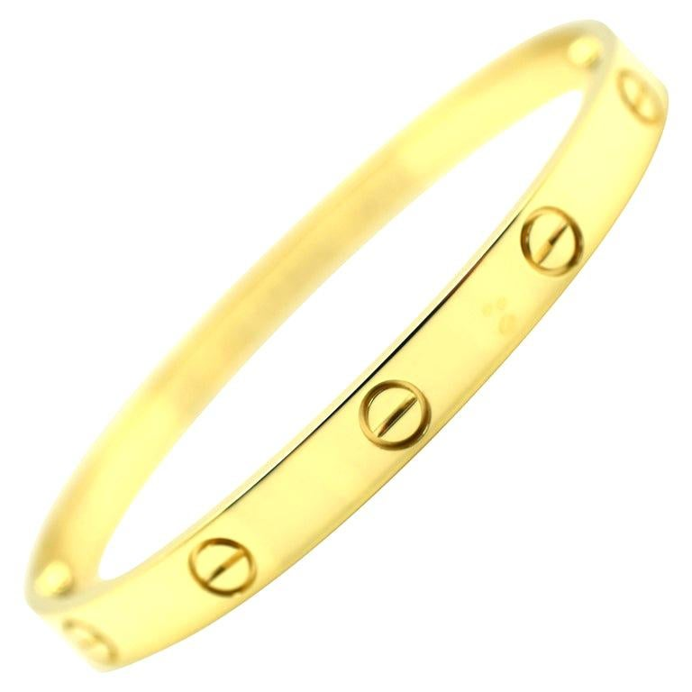 Cartier Love 18 Karat Yellow Gold Bangle Bracelet Authentic, E56680 For Sale