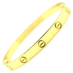 Cartier Love 18 Karat Yellow Gold Bangle Bracelet Authentic, E56680