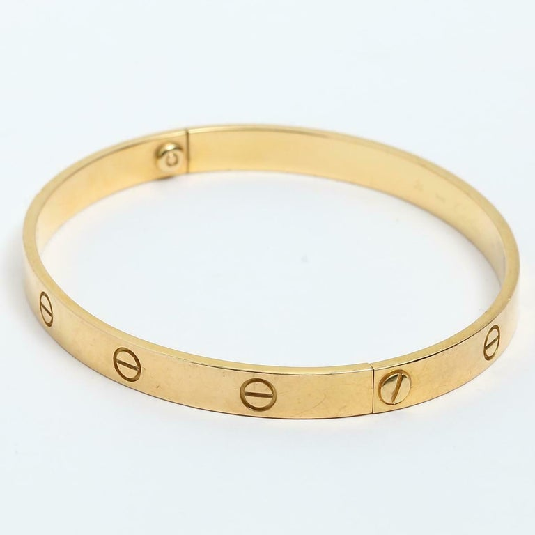 Women's or Men's Cartier Love 18 Karat Yellow Gold Bangle Bracelet Authentic, E56680 For Sale