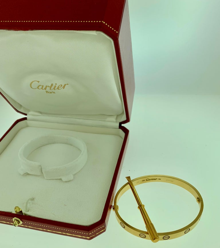 Cartier Love 18 Karat Yellow Gold Bangle Bracelet Authentic, E56680 For Sale 5