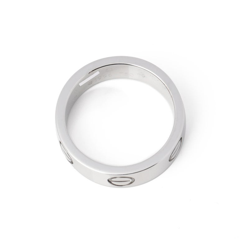 Contemporary Cartier Love 18ct White Gold Band Ring  For Sale